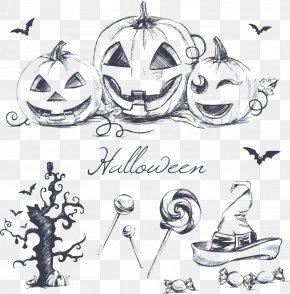 Vector Painted Halloween Items - Halloween Drawing Pumpkin Wallpaper PNG