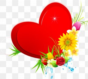 Flower - Flower Heart Color Valentine's Day PNG