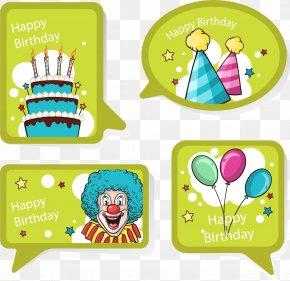 Vector Hand Painted Green Label - Birthday Cake Euclidean Vector Clip Art PNG