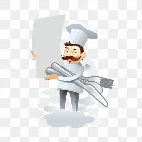 Chef Hold A Knife And Fork - Chef Knife Cooking PNG