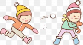 Pleased Playing In The Snow - Cartoon Line Child Playing In The Snow Pleased PNG