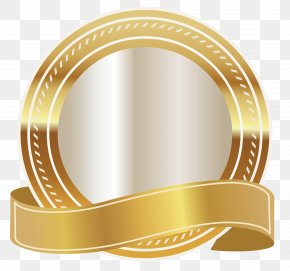Gold Seal With Gold Ribbon Clipart Image - Gold PNG