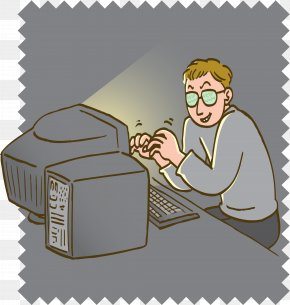 Cartoon Night Playing Computer - Computer Security Hacker Photography Clip Art PNG