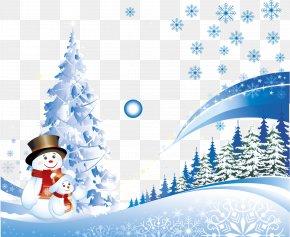 Vector Snowman - Christmas Card New Year Santa Claus Christmas Tree PNG