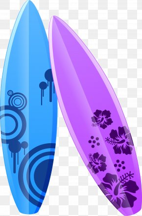 Purple Cartoon Surfboard - Surfboard Illustration PNG