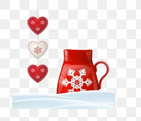 Exquisite Love Accessories And Snowflakes Single Pot Vector - Coffee Cup Heart Love Valentines Day Cafe PNG