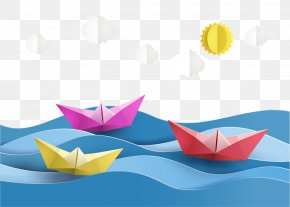 Vector Paper Boat And Clouds - Paper Craft Sailboat Origami PNG