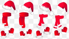 Transparent Christmas Santa Hat And Scarfs Collection Clipart - Scarf Stock Photography Stock Illustration Royalty-free PNG