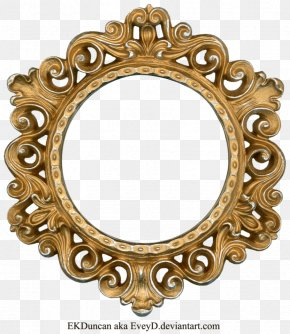 Golden Round Frame Photo - Picture Frame Clip Art PNG