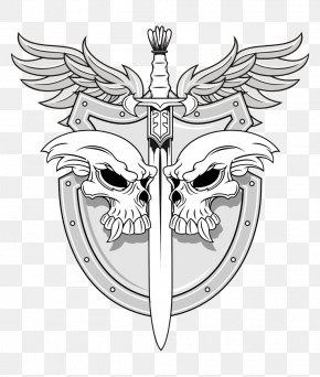 Skull Shield Vector - Sword Human Skull Symbolism Shield Illustration PNG