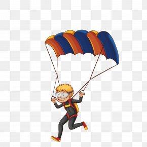 Vector Cartoon Boy Skydiving - Parachuting Parachute Can Stock Photo Clip Art PNG