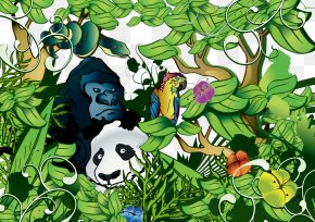 Jungle Animals - Giant Panda Forest Animal Clip Art PNG