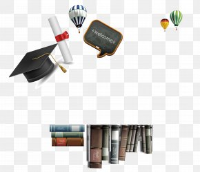 Book Bachelor Cap Hot Balloon Decoration Background - Bachelors Degree Hat Academic Dress PNG