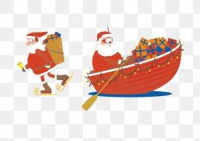 Vector Santa Claus - Santa Claus Boat Christmas Clip Art PNG