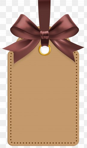 Label With Brown Bow Template Clip Art Image - Label Clip Art PNG