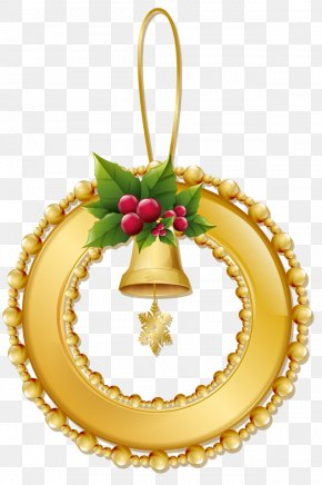 Christmas Gold Wreath With Bell Ornament - Christmas Holiday Nativity Of Jesus Tradition 25 December PNG
