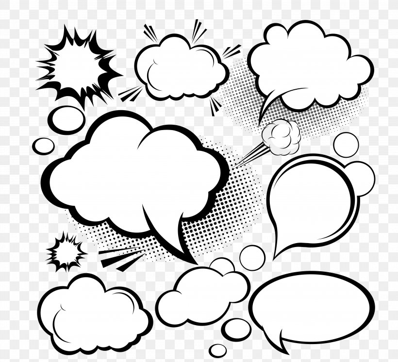 Speech Balloon Cloud Euclidean Vector Clip Art, PNG, 3969x3613px, Royalty Free, Area, Artwork, Black, Black And White Download Free