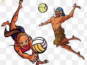 Cartoon Beach Volleyball - Beach Volleyball Drawing PNG