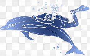 Vector Dolphin Diver - Download Illustration PNG