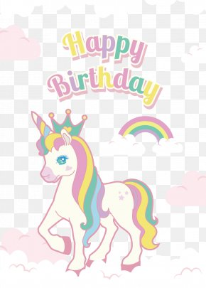 Hand Painted Color Unicorn Birthday Decorations - Euclidean Vector PNG
