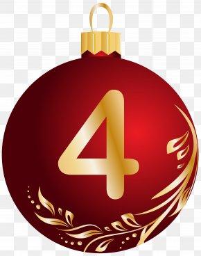 Christmas Ball Number Four Transparent Clip Art Image - Christmas Ball Clip Art PNG
