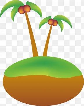 Cartoon Coconut Tree Island Vector - Coconut Euclidean Vector Tree PNG