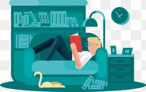 Lie On The Sofa Reading A Book - Reading Book Cartoon Illustration PNG