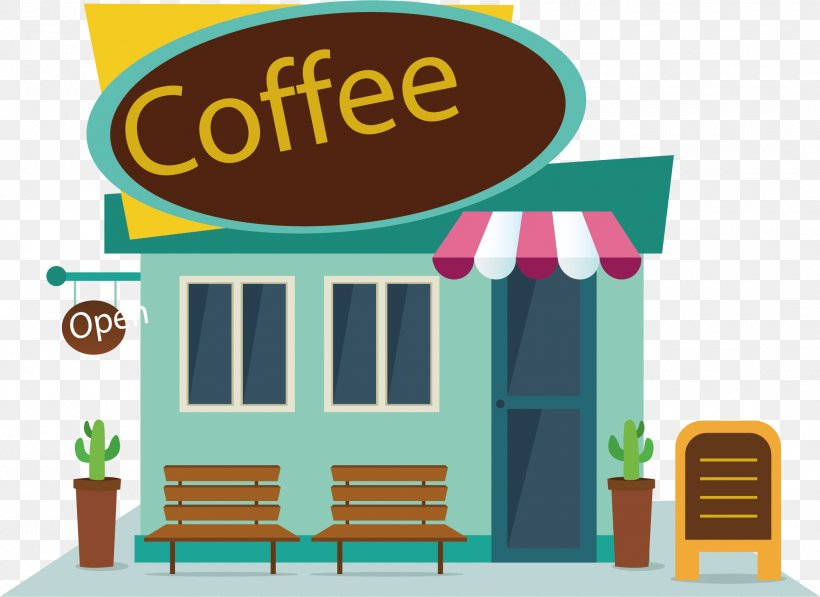 Coffee Cafe Fast Food Clip Art, PNG, 2100x1530px, Coffee, Brand, Cafe, Cartoon, Facade Download Free