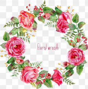 Beautifully -painted Rose Wreath Border - Pink Flowers Euclidean Vector PNG