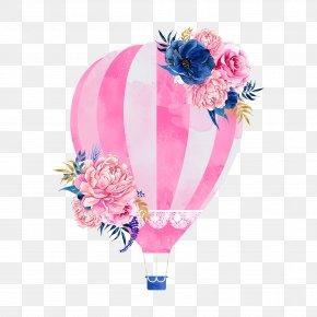 Pink Hot Air Balloon - Wedding Invitation Hot Air Balloon Clip Art PNG