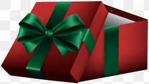 Open Gift Box Red Clip Art - Gift Box Ribbon Clip Art PNG