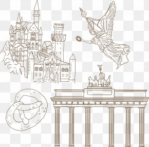 Germany European Architecture Artwork - Structure Black And White Line Art Pattern PNG