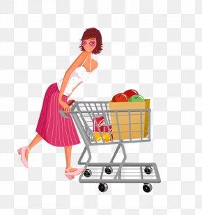 Woman Pushing A Shopping Cart - Shopping Cart Designer Clip Art PNG