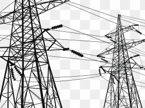 Urban High Voltage Lines - Electricity Transmission Tower High Voltage Electric Power Transmission Wire PNG