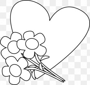 Hearts Black And White - Valentines Day Heart Black And White Clip Art PNG