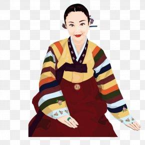 South Korea Women's Clothing - South Korea Woman Cartoon Hanbok Illustration PNG