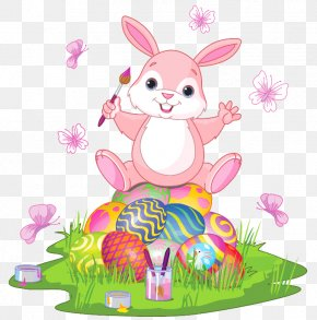 Easter Bunny With Eggs And Grass Clipart Picture - Easter Bunny Easter Egg PNG
