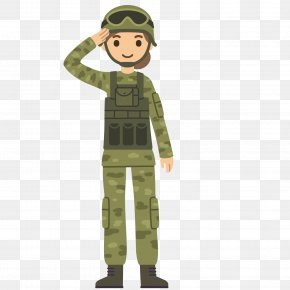 Wearing A Uniform Salute Soldier - Soldier Salute Cartoon Army PNG