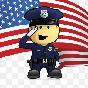 A Man Who Works For His Own Goals - United States Police Officer Illustration PNG