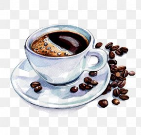 Coffee - Coffee Cup Latte Cafe Watercolor Painting PNG