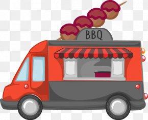 Cartoon Vector Flow BBQ Grill Car - Hamburger Barbecue Car Chuan PNG