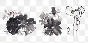 Chinese Ink Lotus - Nelumbo Nucifera Ink Wash Painting Drawing Ink Brush PNG