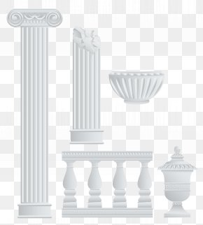 Greek Fence Columns And Elements Clipart - White Product Pattern PNG