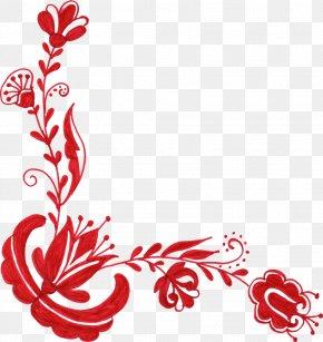 Floral Corner - Flower Red Floral Design Clip Art PNG
