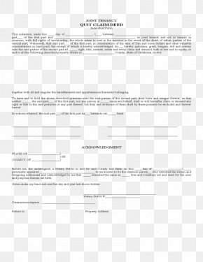 Deed - Document Quitclaim Deed Form Template PNG