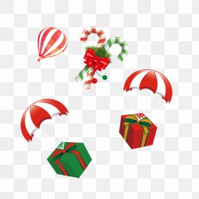 Christmas Gift Box Flying - Candy Cane Lollipop Christmas Caramel PNG