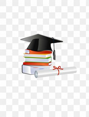Bachelor Of Cap And Textbooks - Graduation Ceremony Diploma Bachelors Degree Square Academic Cap PNG