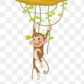 Lovely Monkey - Monkey Cartoon Illustration PNG