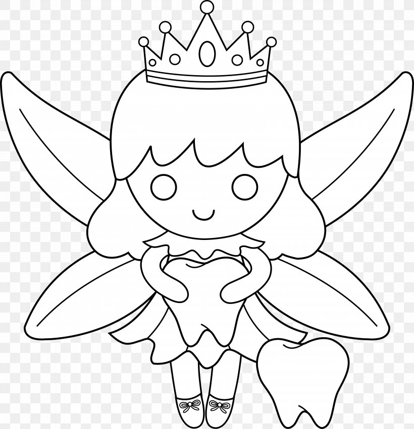 - Tooth Fairy Coloring Book, PNG, 6436x6686px, Tooth Fairy, Artwork, Black,  Black And White, Cartoon Download Free