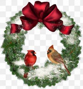 Transparent Christmas Wreath With Birds - Christmas Wreath Clip Art PNG